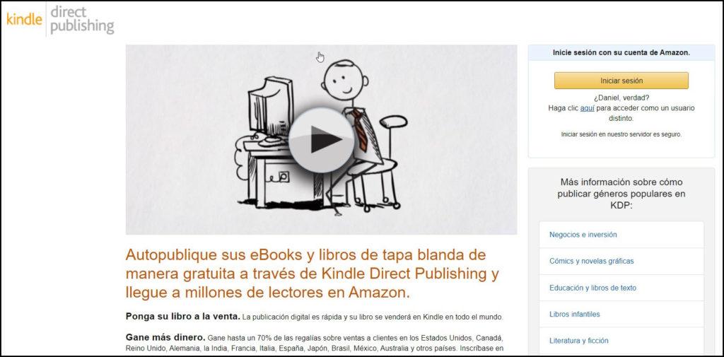 Pagina principal Amazon Kdp